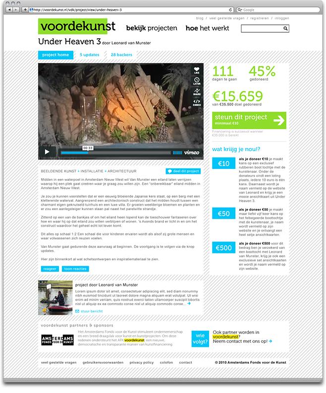 voordekunst.nl - project page screenshot