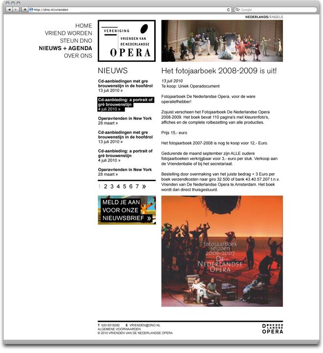 the news page of the vrienden van de nederlandse opera website