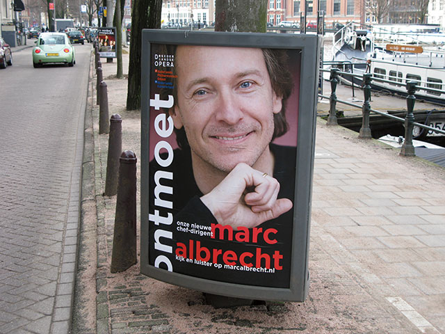 poster introducing Marc Albrecht as the new chief director of De Nederlandse Opera and the Netherlands Philharmonic Orchestra to the Amsterdam audience